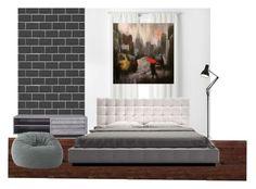 Bedroom by devanyauliap on Polyvore featuring interior, interiors, interior design, home, home decor, interior decorating, Modloft, Big Joe, Anglepoise and Curtainworks