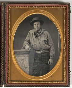 ca. 1850, [daguerreotype portrait of a miner dressed in plaid]