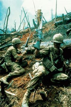 Soldiers battle for Hill 875, aka Hamburger Hill - Vietnam War