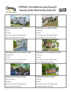 Come visit our Open Houses this weekend! Century 21 New Millennium 703-556-4222 6641 Old Dominion Drive McLean, VA 22101