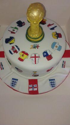 World Cup themed cake with handmade fondant Jules Rimet trophy Soccer Birthday Cakes, Soccer Cake, Birthday Cup, Themed Birthday Cakes, Soccer Party, 50th Birthday Party, Themed Cakes, Birthday Celebration, Football Themes