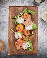 Grilled Apricots with Burrata, Country Ham and Arugula Recipe on Food & Wine