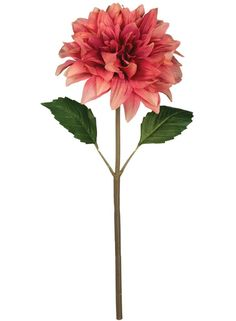 "Dahlia Faux Flower Stem in Coral Pink<br>6.5"" Bloom x 16"" Tall"
