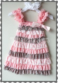 Pink grey and white petti lace Dress, Girl dress, Petti lace and satin dress,baby dress beautiful for summer,flower girls, birthdays etc