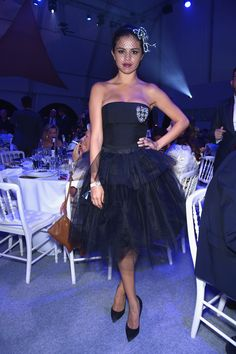Selena Gomez looked like a total princess wearing a black dress with a tulle skirt and a cool mesh veil at the Leonardo Dicaprio Foundation Launch in Saint-Tropez, France. We totally love her dramatic style!