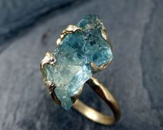 Raw Uncut Aquamarine Ring