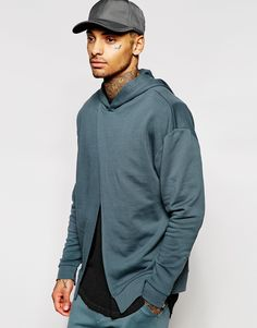 ASOS+Oversized+Split+Front+Hoodie+With+Cuff+Zips