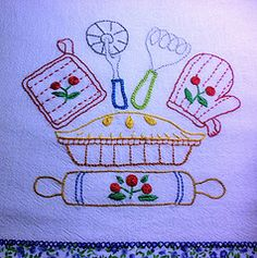 cute motifs for a kitchen towel, with some rickrack and a ruffle, oh yes.