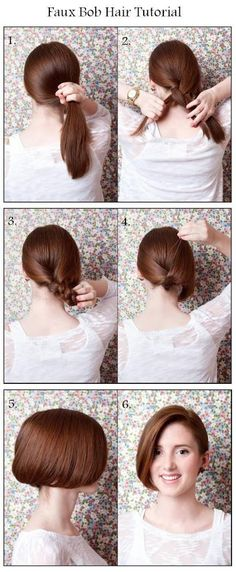 Faux Bob tutorial. Now I wish there was a way to reverse this and make short hair look long... *sigh oh well
