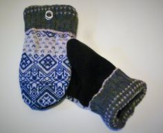 These handmade mittens come from a blue and white patterned wool sweater on top and a wool coat on the palm. They are lined with new black fleece and have an upcycled black and silver metal earring detail. Recycled Sweaters, Blue Sweaters, Wool Sweaters, Sweater Mittens, Bear Design, Wool Coat, Upcycle, Blue And White, Trending Outfits