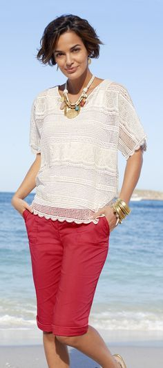 Chico's All Over Lace Lybbie Top. Bring a romantic texture to your look.
