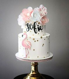 Be a flamingo in a flock of pigeons 🐦 - Taufe - Kuchen Flamingo Party, Flamingo Baby Shower, Flamingo Cake, Flamingo Birthday, Pretty Cakes, Cute Cakes, Beautiful Cakes, Cake Designs For Girl, Girl Cakes