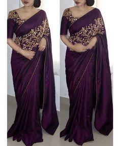 * Saree Fabric : Paper Silk * Saree Color : Purple * Saree Length : M * Blouse Fabric : Paper Silk * Blouse Color : Purple * Blouse Length : M * Work : Embroiderey Work * Look : Designer * Wash Care : Hand Wash * Delivery Saree Designs Party Wear, Party Wear Sarees, Party Wear Indian Dresses, Wedding Dresses, Wedding Wear, Dress Party, Wedding Shoes, Trendy Sarees, Stylish Sarees