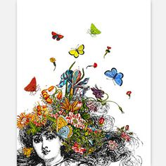 Girl With Flowers Print, 26€, now featured on Fab.