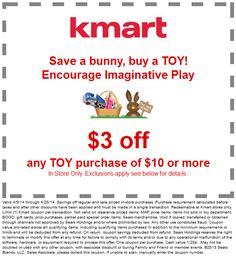 Pinned April 9th: $3 off $10 on toys at #Kmart #coupon via The Coupons App