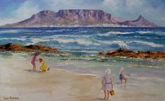 Table Mountain, Cape Town, South Africa, Watercolour, Landscapes, Sea, Painting, Pen And Wash, Paisajes