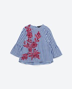 Image 8 of EMBROIDERED CHECKED TOP from Zara