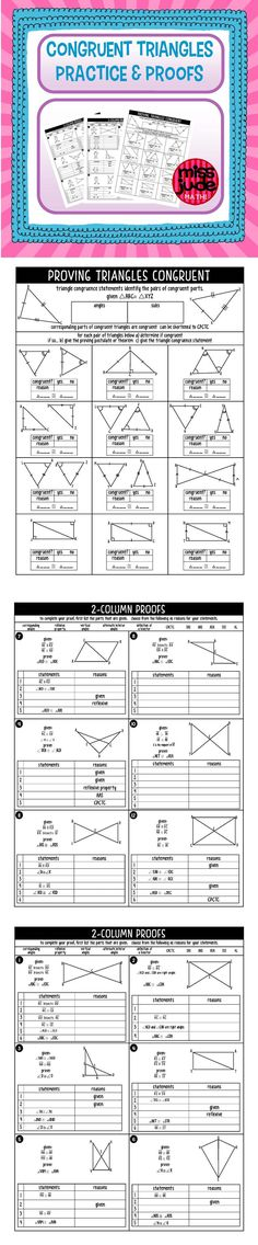 Congruent Triangles Practice and Proofs Geometry Notes and practice to introduce students to triangle congruence and proving triangles congruent. From the miss jude math! Geometry Proofs, Geometry Lessons, Teaching Geometry, Math Lessons, Teaching Math, Primary Lessons, Math Tutor, Math Teacher, Math Classroom