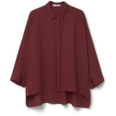 MANGO Flowy Shirt (€22) ❤ liked on Polyvore featuring tops, red long sleeve shirt, long sleeve tops, mango shirt, red top and long sleeve shirts