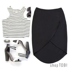 There's a reason why the black & white combo is a classic: It makes it easy to take your look from day to night. Perfect for Fridays!
