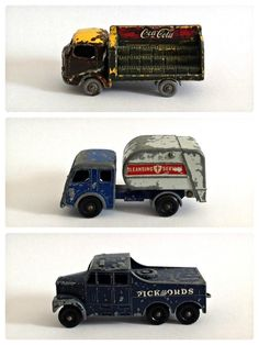 Cool toy trucks Toy 2, Toy Trucks, Tin Toys, Small Cars, Antique Metal, Classic Toys, Toy Boxes, Cool Toys, Vintage Toys