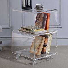 Wade Logan Caylee Acrylic G Shape End Table Lucite Furniture, Acrylic Furniture, Home Furniture, Neutral Bedroom Decor, Acrylic Table, Acrylic Box, Acrylic Cabinets, Affordable Home Decor, Home Living