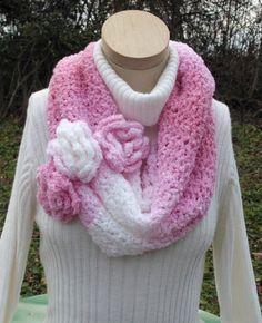 Cowl Crochet Pink White Roses by RoseCottageCrochet on Etsy, $35.00