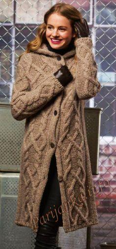 Kaput s kapuljačom (g) 32 * 214 FAM Crochet Cardigan, Knit Dress, Knit Fashion, Fashion Outfits, Crochet Patterns Free Women, Twin Outfits, Knitted Coat, Knit Jacket, Jumpers For Women
