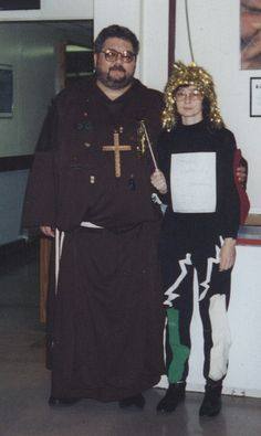 Some years back I entered a Halloween costume contest at school. I took my Friar Tuck outfit and attached a ton of ICs to it, even though you can't really see them in the picture. I won first prize because I went as a ...... (wait for it)..... chipmo Best  Halloween Costumes