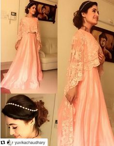Actress and ex big boss contestant Yuvika Chaudhary in Bubber Couture's Rose pink pearl embroidered cape lehenga set!  #yuvikachaudhary #cape #pink #lightpink #lehenga #capeblouse #pearl #embroidered #celebrity #indian #indian #wedding #actress #bubbercouture