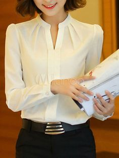 2016 Spring Summer New Fashion Stand Collar V-Neck Solid White Chiffon Blouse Women Long Sleeve Elegant Blouse Blusas Femininas White Chiffon Blouse, Chiffon Shirt, Pleated Shirt, Blouse Styles, Blouse Designs, White Fashion, New Fashion, Formal Blouses, Mode Outfits