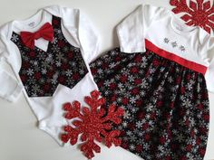 Christmas Twins Onesie Sibling Christmas Outfits by SweetTootsy, $60.00