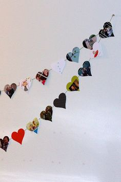such a clever idea. use all those Christmas cards you got for a valentine's day banner! // everyday reading