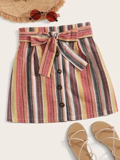 To find out about the Striped Button Front Belted Skirt at SHEIN, part of our latest Skirts ready to shop online today! Fashion News, Fashion Outfits, Button Front Skirt, Skirt Belt, Plus Size Skirts, Stripe Skirt, Printed Skirts, Short Skirts, Cute Outfits