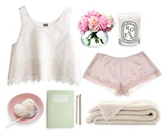 """Quiet Time"" by courtneyferrier ❤ liked on Polyvore featuring MTWTFSS Weekday, Diptyque, LSA International and Hanro"