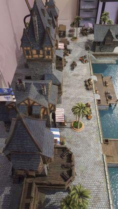 Medieval port - Wargaming Fantasy Town, Fantasy House, Fantasy Castle, Minecraft Kingdom, Minecraft Houses, Medieval Houses, Medieval Town, Planet Coaster, Minecraft Medieval