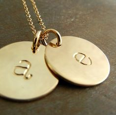 Double Gold Initial Necklace, Two 14K GF (14-karat gold fill) Half-Inch Lowercase Letter Charms on Chain, CHELSEA DUO by E. Ria Designs on Etsy, $46.00