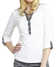 Look what I found on #zulily! White & Pewter Stripe Julia Button-Up Top by GGblue #zulilyfinds