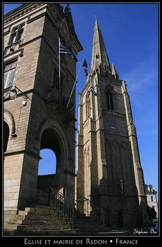 Redon's City Hall & Church, Redon, Bretagne, France