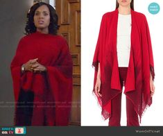 Olivia's red poncho on Scandal. Outfit Details: https://wornontv.net/65819/ #Scandal