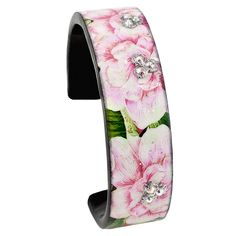 Mother's Day Gift Ideas. This pretty pink Banana Leaves Nano Cuff from Debbie Brooks is hand silk screened, embellished with diamond dust and glitter and encapsulated in Jewelry grade acrylic. It is adorned with Swarovski crystals and comes in four sizes all with matching accessories. Available in many styles - purses, phone covers, pill boxes, business card holders.Stop in to see our large selection of Debbie Brooks accessories