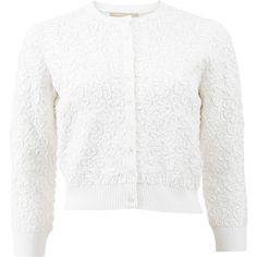 Michael Kors Soutache Embroidered Cropped Cardigan (€1.125) ❤ liked on Polyvore featuring tops, cardigans, embroidered cardigan, white cropped cardigan, button up crop top, michael kors tops and cropped cardigan