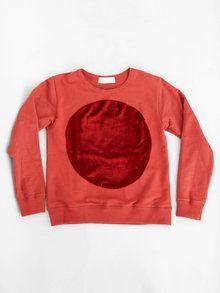 Correll Correll Velvet Circle Sweatshirt - Red Fashion Plates 3a01512ff4be2