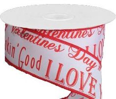 White Ribbon w/ Red Valentine Print Wired 1.5 by CustomWreathDecor