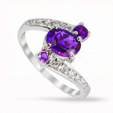 Inel logodna argint 925 piatra semipretioasa Ametist si placat cu rodiu Engagement Rings, Jewelry, Fashion, Enagement Rings, Moda, Wedding Rings, Jewlery, Jewerly, Fashion Styles
