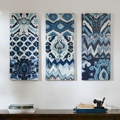 Add worldly style to your home with this triptych set. Flourish Ikat includes 9 different patterns in a cool blue color palette. The set is printed on canvas panels and light coated with gel.