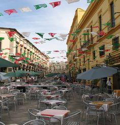 Plaza de los Mariachis, Guadalajara, Jalisco, México. Independence Day colours. Sept 16.