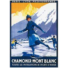 La ville de Chamonix est mise à l'affiche avec ce poster rétro de 1924 pour la compagnie PLM.