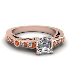 Asscher Cut Accented Engagement Ring