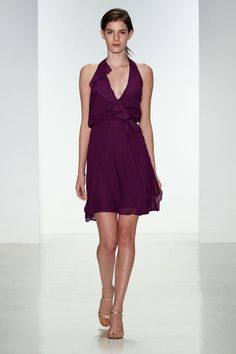 Berry hued v-neck halter dress: http://www.stylemepretty.com/lookbook/designer/novelle-amsale/ #SMPLookBook